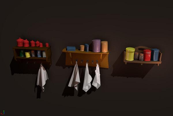 3D model shelf towels jars
