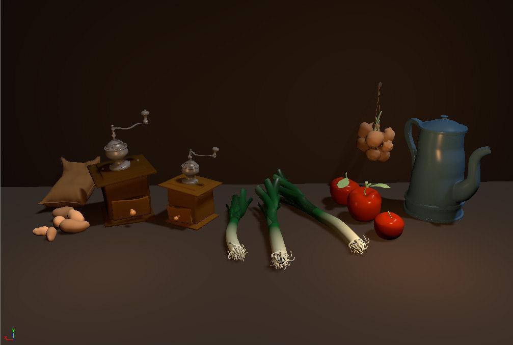 3D food kitchen model