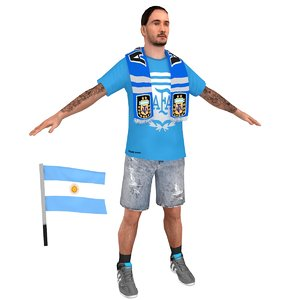 3D model soccer fan