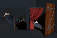 bed curtain 3D model