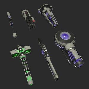 3D futuristic guns