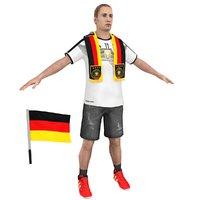 soccer fan man 3D