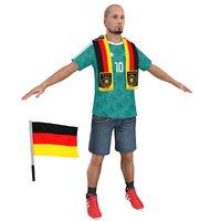 3D soccer fan man 2 model