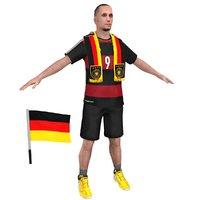 3D soccer fan 3 man