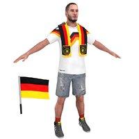 soccer fan man 3D model