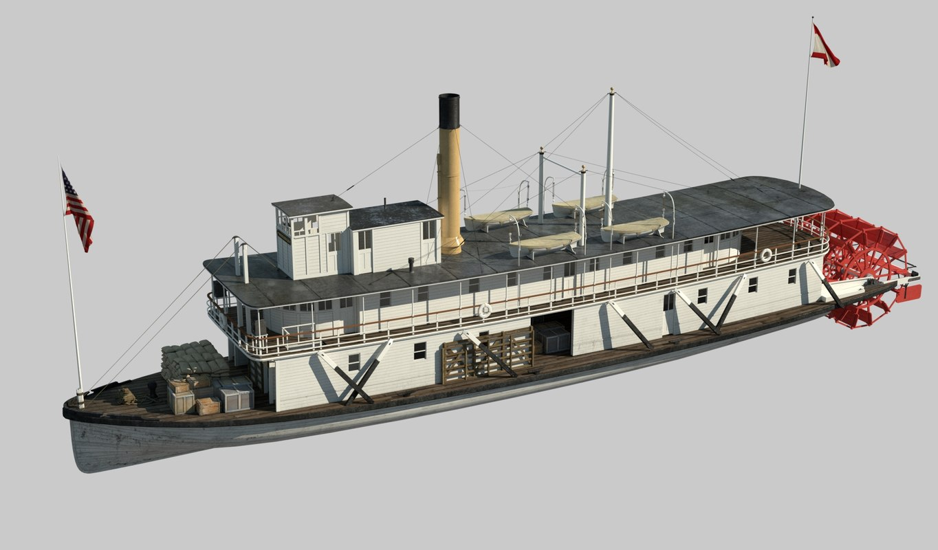 steamboat stern wheeler 3D model