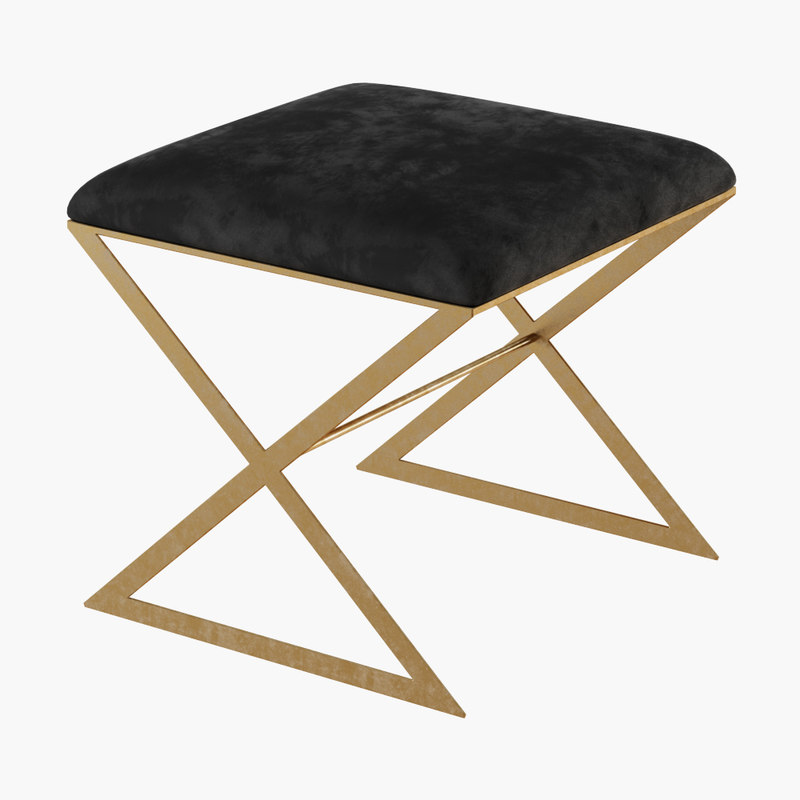 3D x-side gold leaf stool