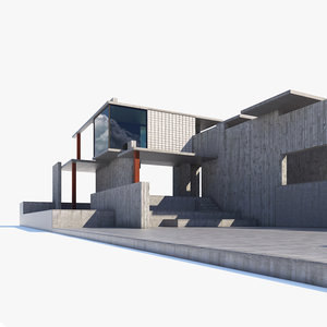 exterior space concrete 3D model