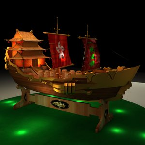 chinese junk ship 3D model