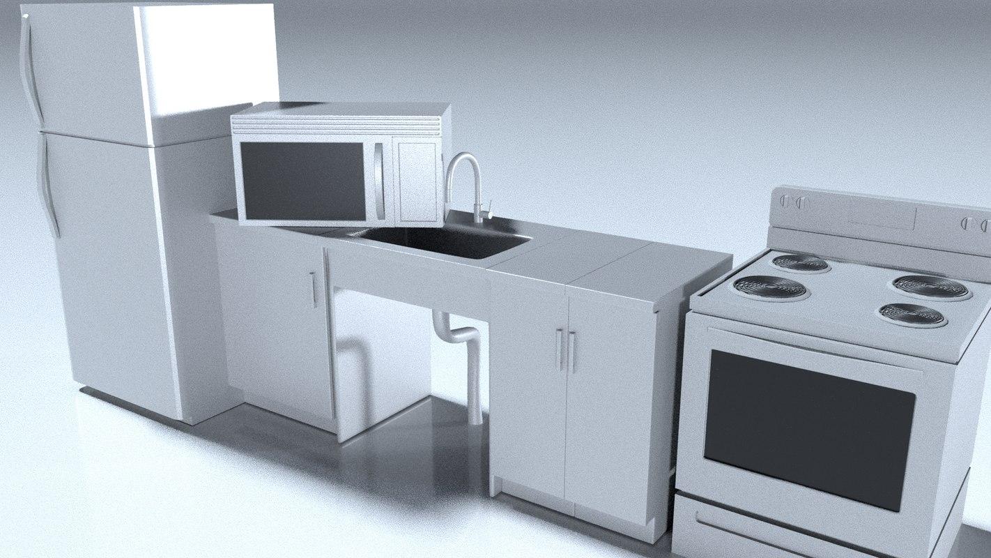 3D stove microwave fridge