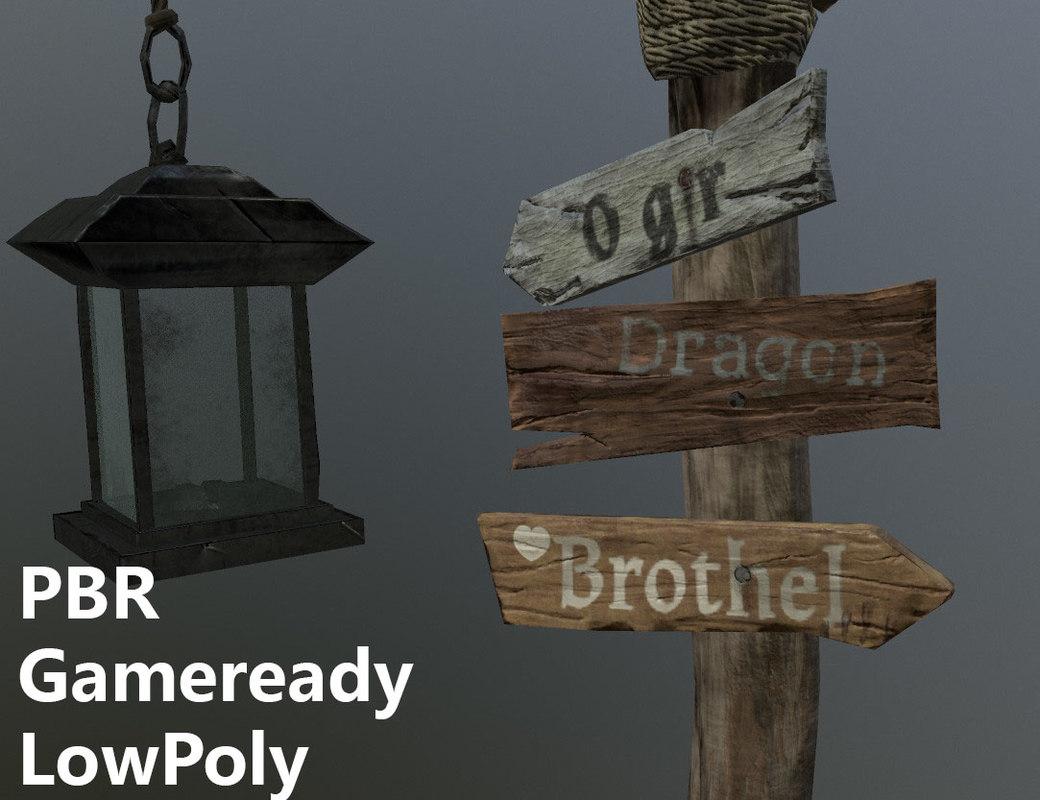 pbr medival road sign 3D model