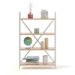 bookshelf decorations books 3D model