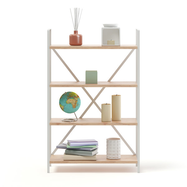 bookshelf decorations books 3D model