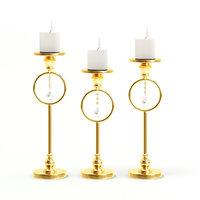 golden candlesticks candles 3D model