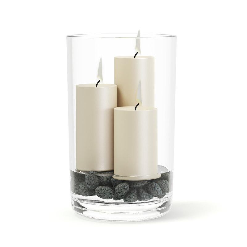 burning candlesticks glass vase 3D model