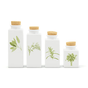 3D white spice containers