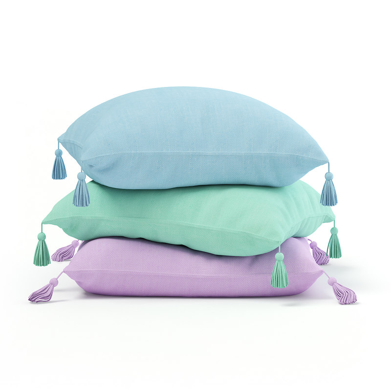 pillows blue green 3D model