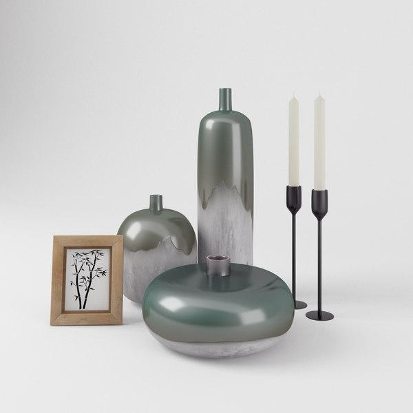 decorative set 2 vases 3D
