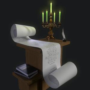 3D candle scroll pen model
