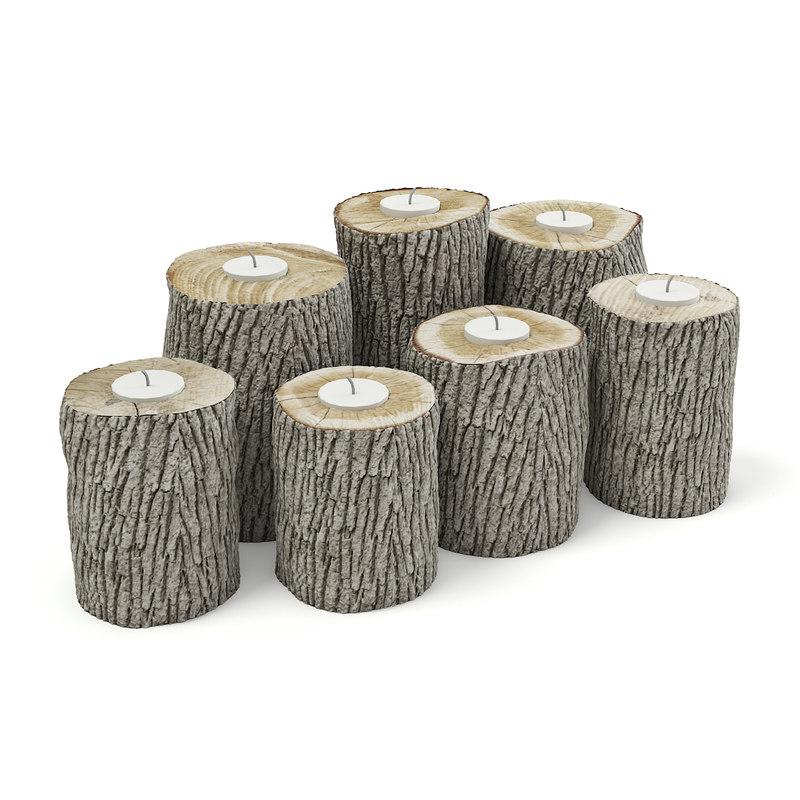wood logs candlesticks 3D model