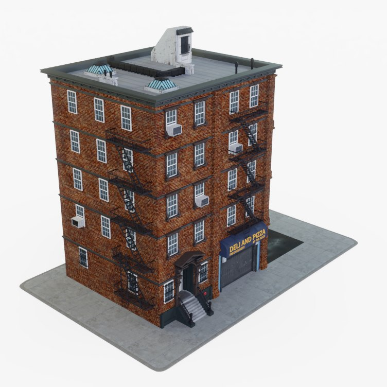 city apartment building 3D model
