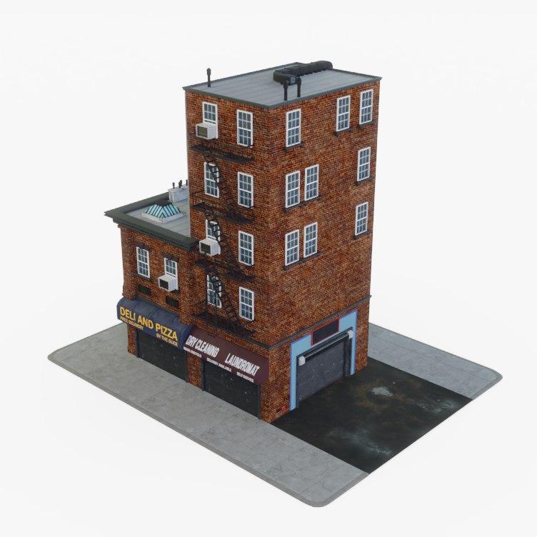 3D city apartment building