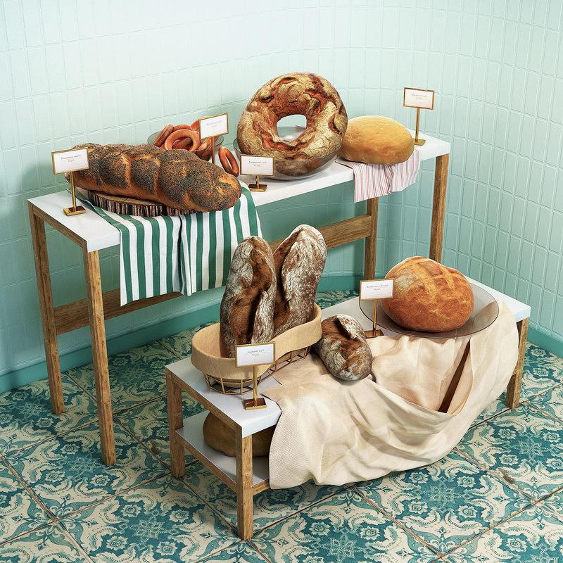 shelves bagels bread 3D model