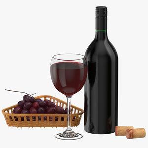 3D bottle wine glass grapes