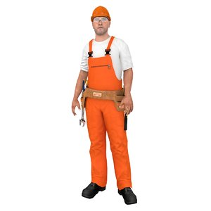 rigged worker 1 3D model