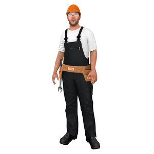3D model rigged worker