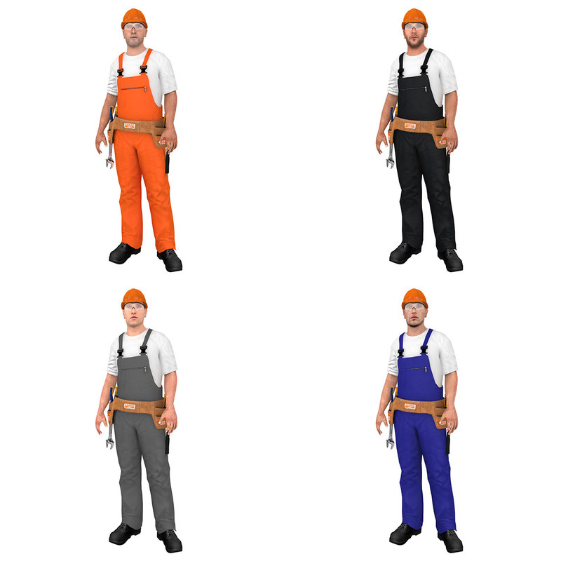 3D pack rigged worker model