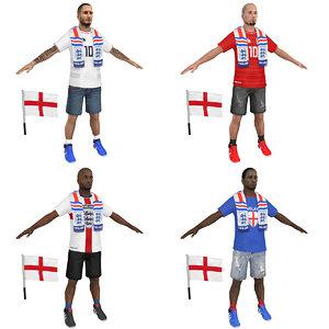 3D soccer fan man model