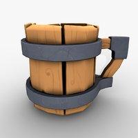 3D cup cartoon wood