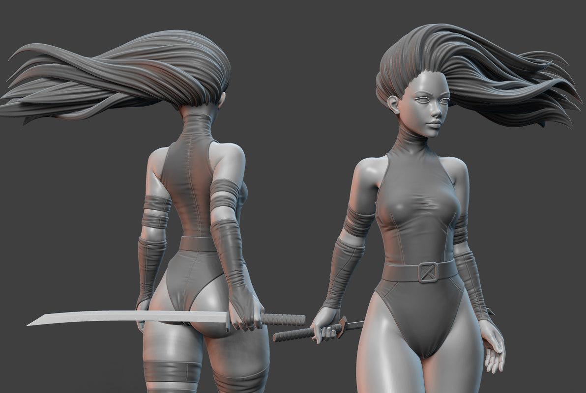psylocke pose 3D model