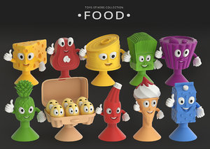 toys-stickies food 3D