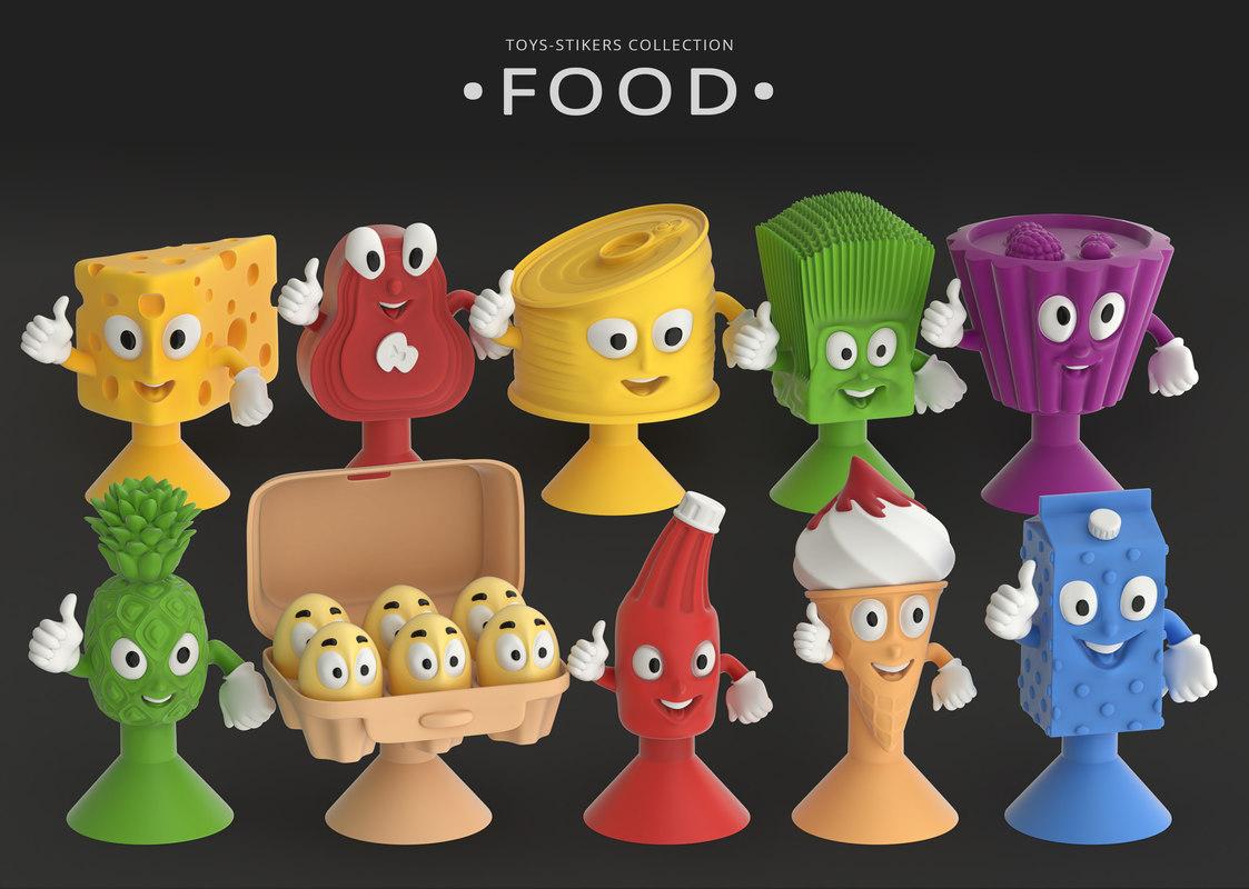 toys-stickies food 3D