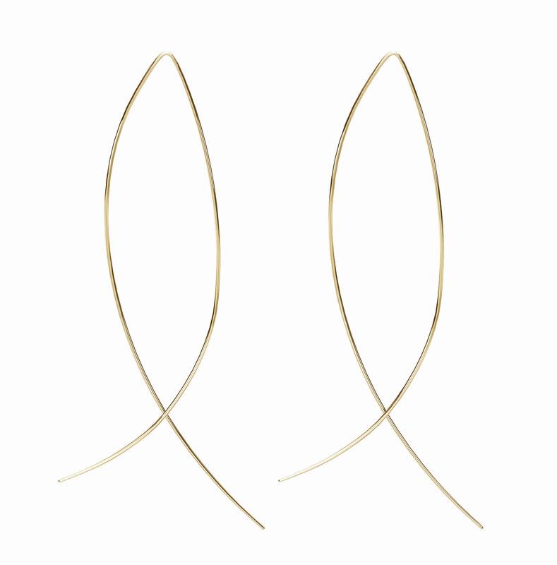 gold earrings fish shape 3D model