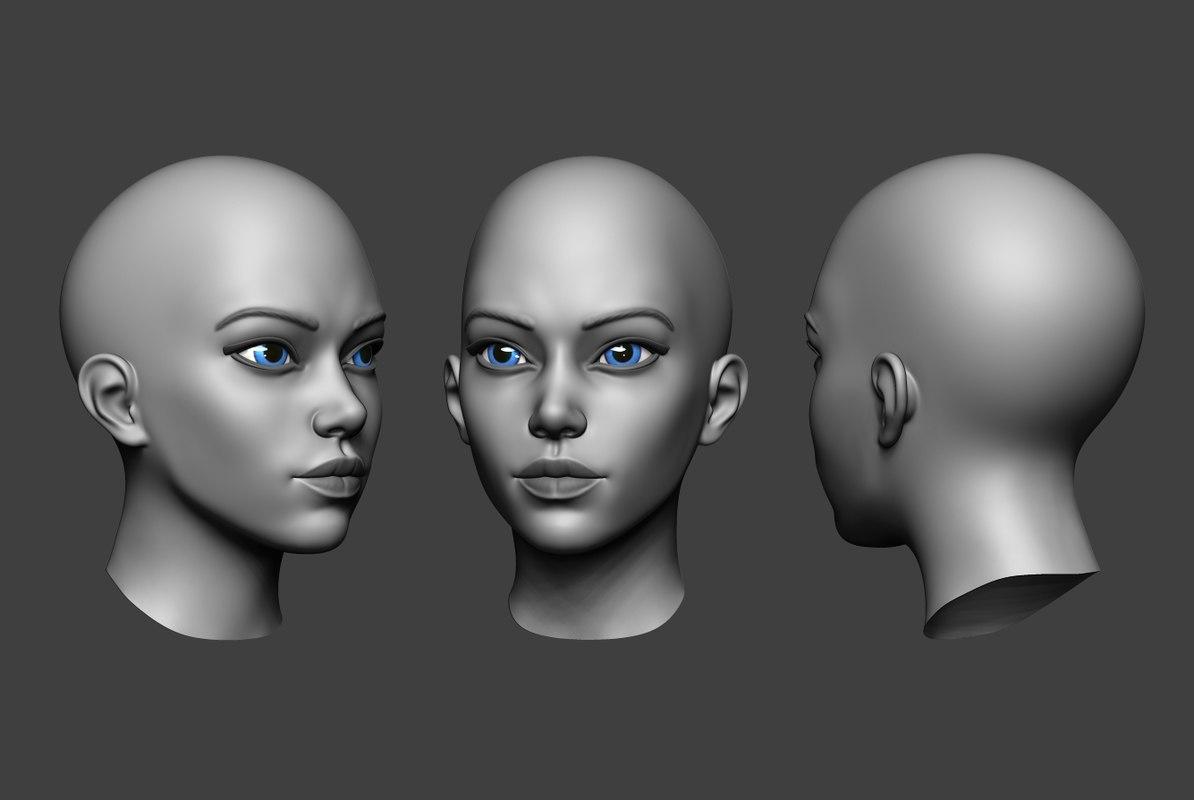 3D woman head 2