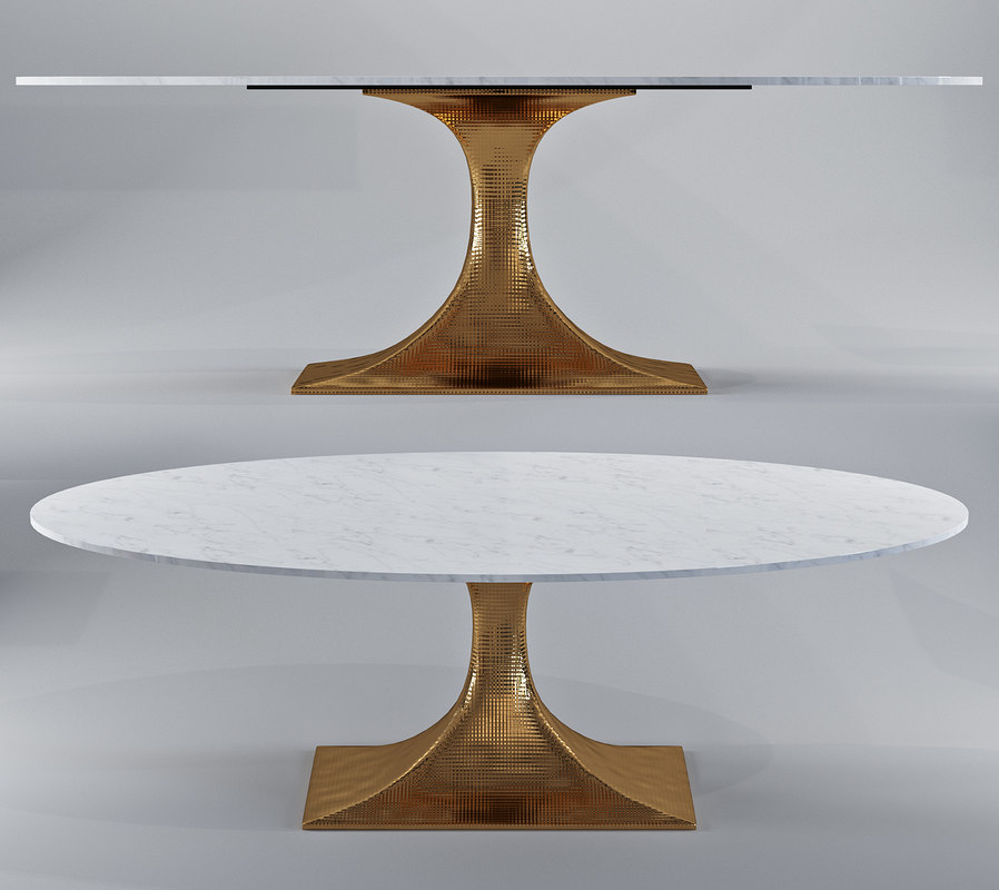 3D oval dining table stone model