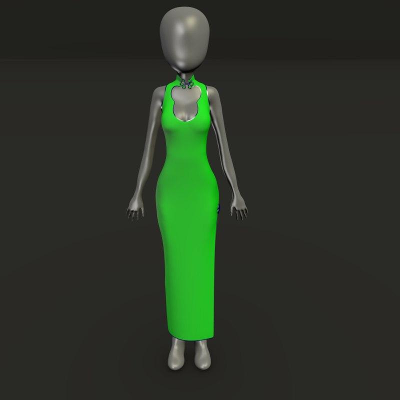 long formal dress asian model