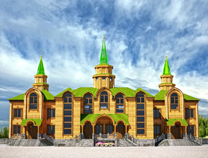 tatarian style wooden mosque 3D model