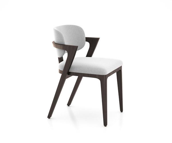 3D model adam court upholstered dining chair