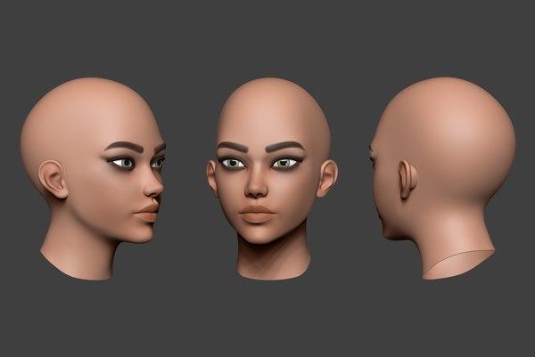 3D woman head 6