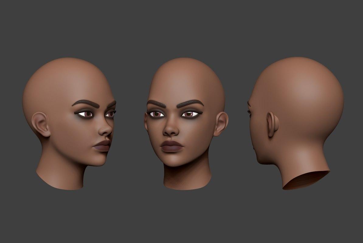 3D woman head 5 model