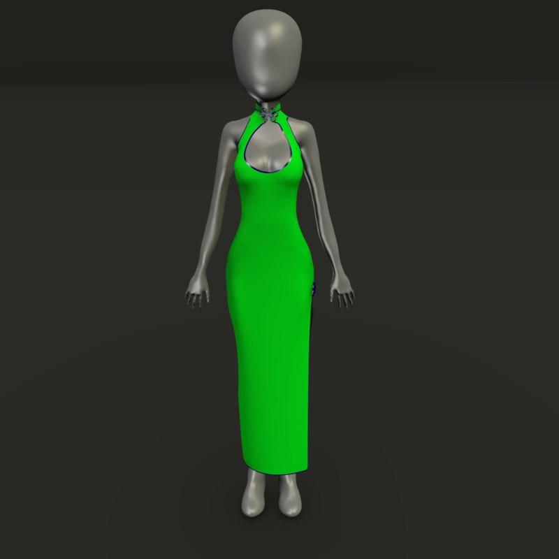 long formal 2 asian 3D model