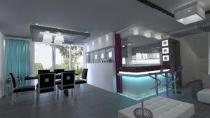 living dinning kitchen interior model
