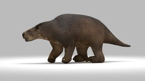 3D glossotherium extinct ice