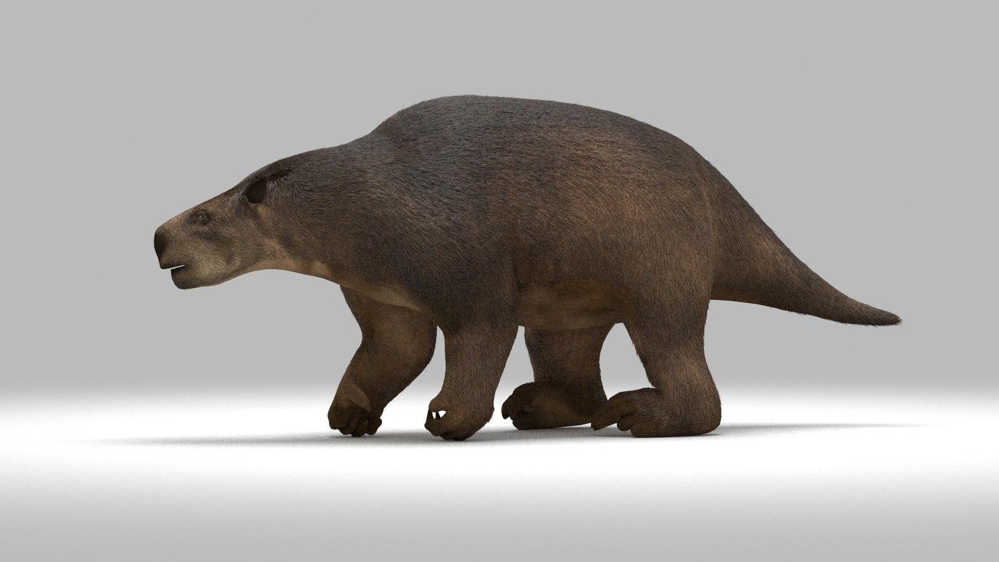 3D glossotherium extinct ice