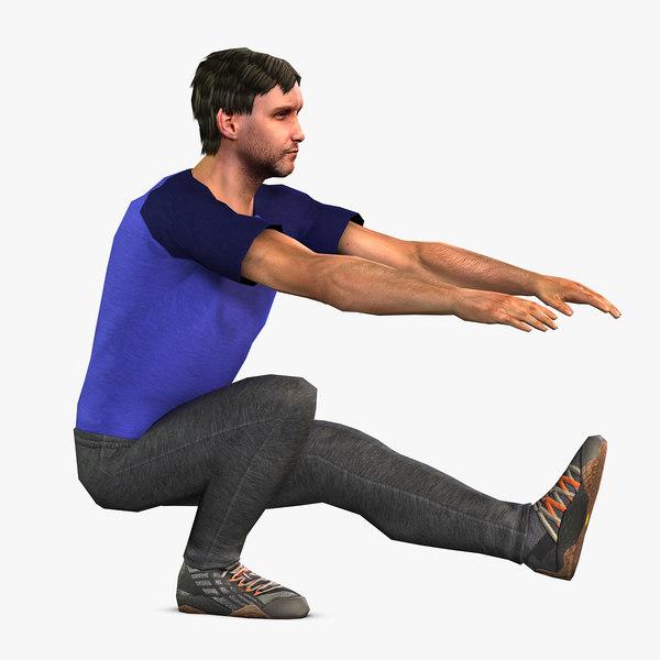 3D sportsman character rig man