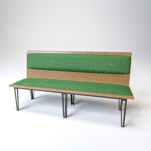 burger king single bench 3D